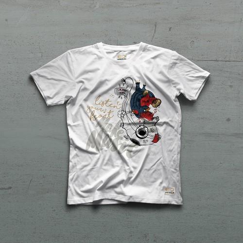 Make Music Heart Tshirt - Beyaz